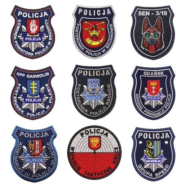 Naszywki policyjne naramienne gotowe wzory bez wyceny