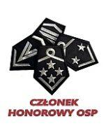 dystynkcje honorowe OSP, emerytowany, z krokiewką, w spoczynku, haft
