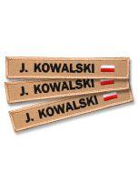 Naszywka, emblemat imienny piaskowy z FLAGĄ POLSKI straż pożarna osp