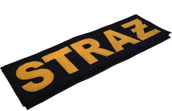 naszywka STRAŻ na plecy, podszyta rzepem, miękki rzep do naszycia na mundur, żółty napis