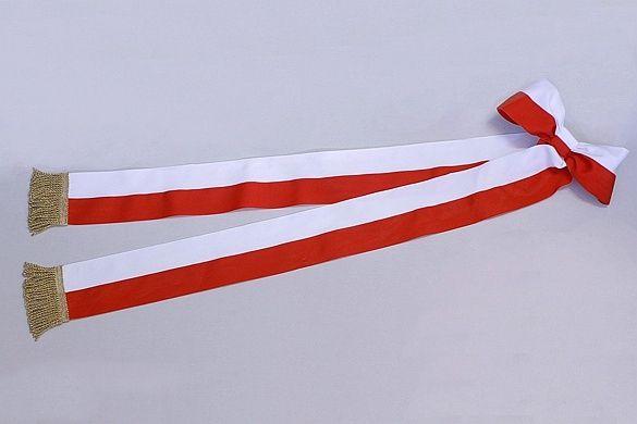 szarfa straż pożarna haft komputerowy Polska biało-czerwona haftowana