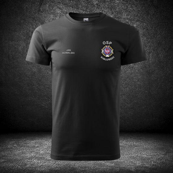 T-SHIRT koszulka strażacka haft, szary napis