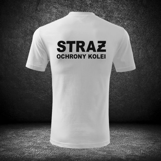 T-SHIRT BIAŁA Koszulka STRAŻ OCHRONY KOLEI haft