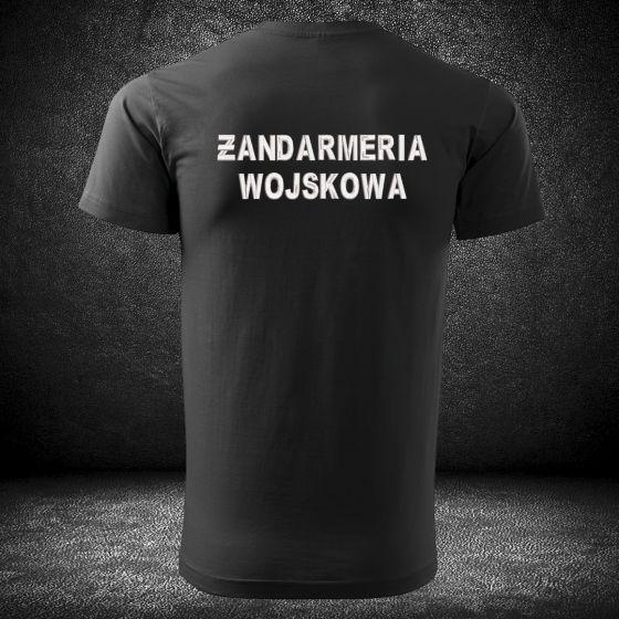 Koszulka czarna t-shirt o wysokiej gramaturze dla funkcjonariuszy ŻANDARMERII WOJSKOWEJ z haftowanym napisem ŻANDARMERIA WOJSKOWA