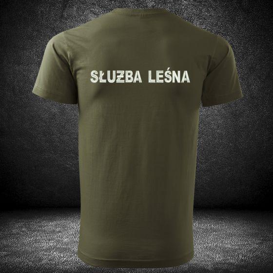 Koszulka haftowana SŁUŻBA LEŚNA, indywidualne napisy, napis na plecach i na piersi