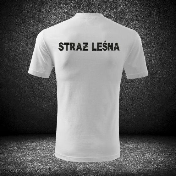 Wysokiej jakości haftowana biała koszulka t-shirt straż leśna indywidualne napisy dodatkowe