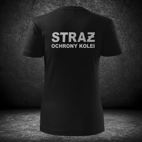 DAMSKI T-SHIRT Koszulka STRAŻ OCHRONY KOLEI haft