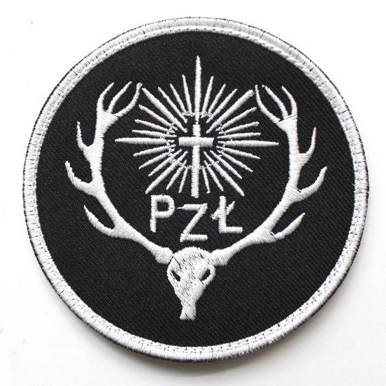 Naszywka PZŁ Polski Związek łowiecki 85mm - czarne tło
