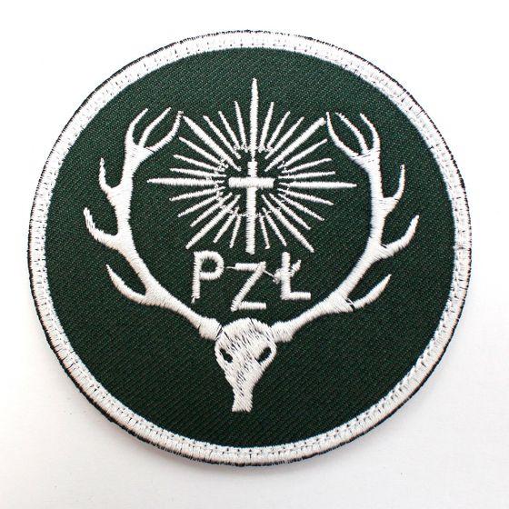 Naszywka PZŁ Polski Związek łowiecki 85mm - zielone tło