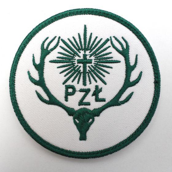 Naszywka PZŁ Polski Związek łowiecki 85mm - białe tło