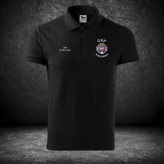 POLO koszulka strażacka haft, szary napis
