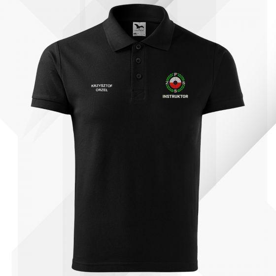 Czarna koszulka polo INSTRUKTOR Polski Związek Strzelectwa Sportowego PZSS