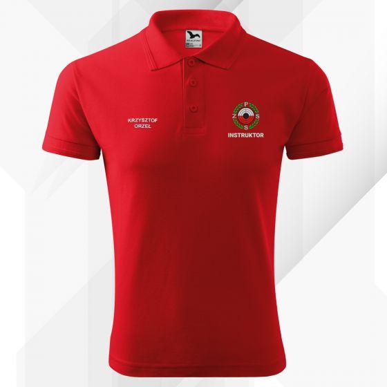 Czerwona koszulka polo INSTRUKTOR Polski Związek Strzelectwa Sportowego PZSS