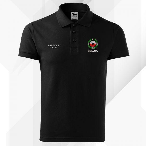 Czarna koszulka polo SĘDZIA Polski Związek Strzelectwa Sportowego PZSS