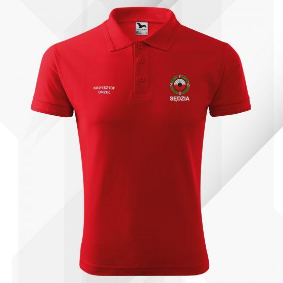 Czerwona koszulka polo SĘDZIA Polski Związek Strzelectwa Sportowego PZSS