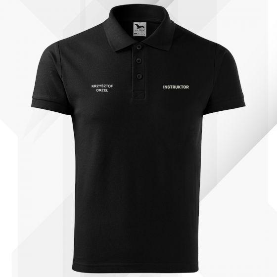 Czarna koszulka polo INSTRUKTOR strzelectwa sportowego haft
