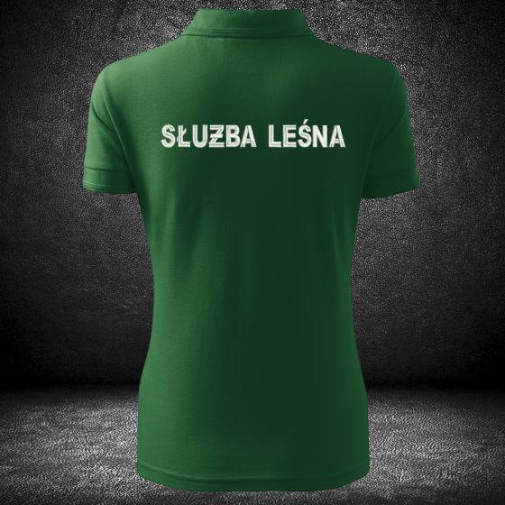 damska koszulka polo służba leśna z haftowanymi napisami na plecach i na piersi