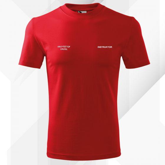 Czerwona Koszulka T-SHIRT INSTRUKTOR STRZELECTWA SPORTOWEGO druk DTG