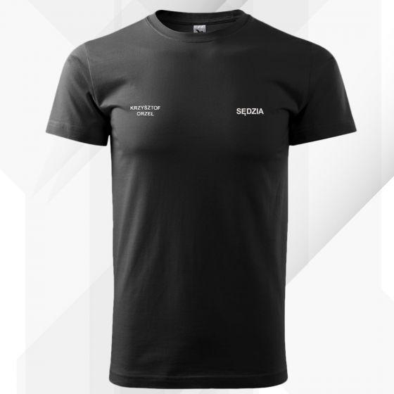 Czarna koszulka T-SHIRT SĘDZIA STRZELECTWA SPORTOWEGO druk DTG