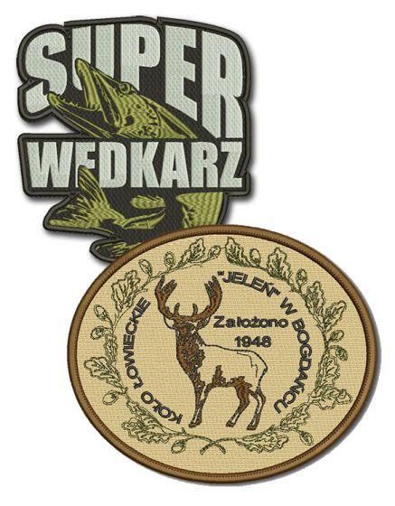haft komputerowy naszywka koła łowieckie, koła wędkarskie emblemat logo naszywki