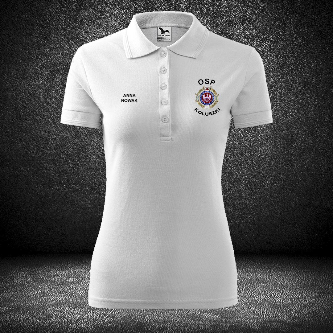 4c67b67e820bdf Biała haftowana koszulka strażacka POLO biała, herb OSP na piersi.
