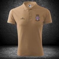 Koszulka piaskowa strażacka t-shirt herb OSP PSP JRG KSRG straż na plecach