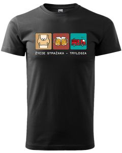STRAŻAK TRYLOGIA, męska koszulka  STRAŻACKA z nadrukiem DTG0017
