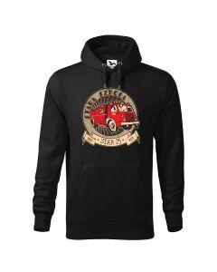 Stara-szkoła, STAR 25, zabytkowy wóz strażacki retro, czarna bluza strażacka z kapturem DTG020