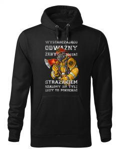 Najlepszy strażak we wsi, czarna bluza strażacka z kapturem DTG025