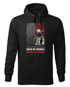 Strażakiem się jest a nie bywa, czarna bluza strażacka z kapturem DTG028