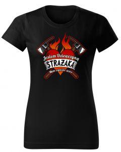 Moje serce należy do strażaka, damska koszulka  STRAŻACKA z nadrukiem DTG0011