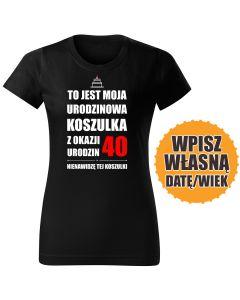 Mam 39 lat czarna DAMSKA koszulka urodzinowa DTG0053