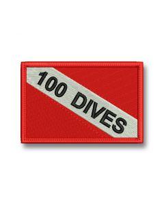 25 DIVES - czerwona haftowana naszywka ILOŚĆ NURKOWAŃ 60 X 40 mm