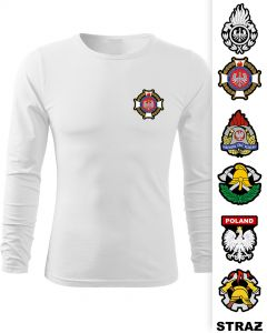 Koszulka DŁUGI RĘKAW STRAŻ POŻARNA koszulka strażacka OSP PSP, LONGSLEEVE DRUK żółty napis