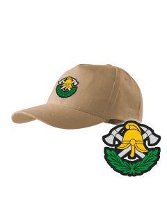 Piaskowa czapka strażacka z daszkiem WZÓR 02 Krzyż Związkowy OSP PLT