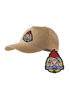 Piaskowa czapka strażacka z daszkiem WZÓR 03 Toporki i Hełm OSP PLT