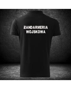 Koszulka piaskowa polo o wysokiej gramaturze dla funkcjonariuszy ŻANDARMERII WOJSKOWEJ z haftowanym napisem ŻANDARMERIA WOJSKOWA