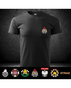 Koszulka czarna STRAŻ OSP PSP, DTG