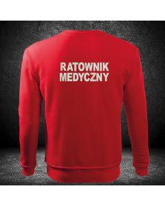 czerwona bluza z haftowanym napisem Ratownik na plecach i z haftowanym logo na piersi z własnym tekstem w logo.