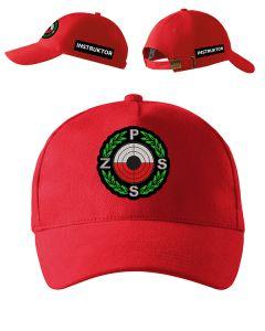 Czerwona czapka z daszkiem SĘDZIA Polski Związek Strzelectwa Sportowego PZSS