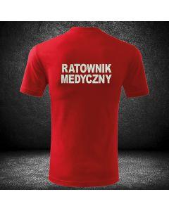 Czerwona koszulka t-shirt z haftowanym napisem na plecach RATOWNICTWO MEDYCZNE i haftowanym logo na piersi z indywidualnymi napisami