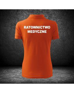 Chabrowa biała koszulka polo RATOWNICTWO MEDYCZNE druk
