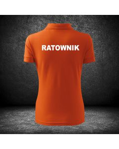 Chabrowa biała koszulka polo RATOWNIK druk