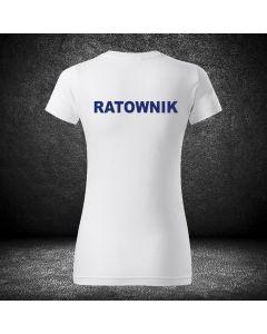 Damska biała koszulka t-shirt RATOWNICTWO MEDYCZNE LOGO druk