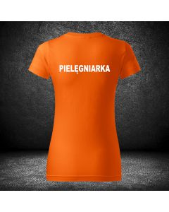 Damska chabrowa koszulka t-shirt PIELĘGNIARKA druk