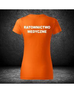 Damska chabrowa koszulka t-shirt RATOWNICTWO MEDYCZNE druk