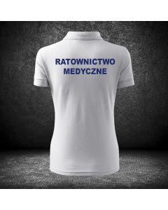 Damska biała koszulka polo RATOWNICTWO MEDYCZNE LOGO druk