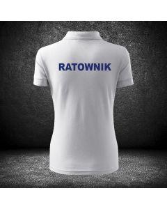 Damska biała koszulka polo RATOWNICTWO MEDYCZNE druk