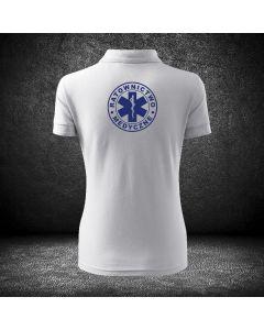 Biała koszulka polo RATOWNICTWO MEDYCZNE LOGO druk