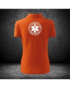 Chabrowa biała koszulka polo RATOWNICTWO MEDYCZNE LOGO druk